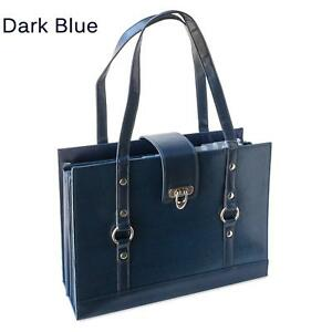 Texture Faux Leather File Organizer Tote teal Color