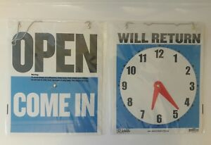 7 5 X 9 Inch Come In Open Or Will Return Plastic Flip Sign With Clock Hands