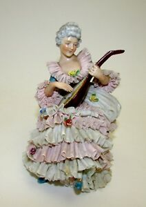 Muller Volkstedt Dresden Porcelain Lace Figurine Musician Lady With Mandolin
