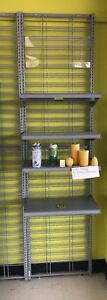 Steel Gray Wall Mount Store Display Fixture With Shelves 97 h 19 l 25 w