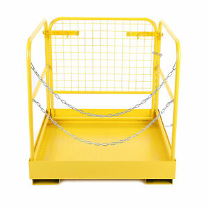 36 x36 749 Lbs Capacity Forklift Safety Cage Steel Work Platform Heavy Duty