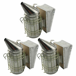 Set Of 3 Bee Hive Smoker Stainless Steel W Heat Shield Beekeeping Equipment Sw
