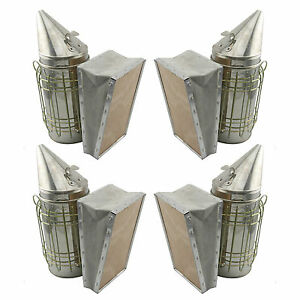 Set Of 4 Bee Hive Smoker Stainless Steel W Heat Shield Beekeeping Equipment Sw