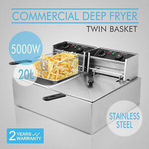 20l Commercial Deep Fryer Food Service Home Applications Twin Tank Newest Design