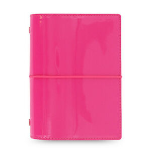 Filofax Pocket Size Domino Patent Diary Notebook Hot Pink Memo Organiser 022480