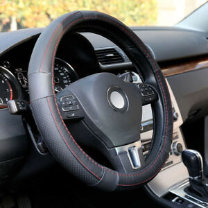 Genuine Leather Steering Wheel Cover For Car Suv Truck 14 5 15 5inch Black
