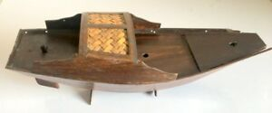 Antique Old Wood Bamboo Hand Crafted Rare Sailing Ship Model Boat