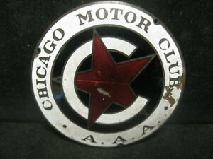Vintage Enamel Automobile Car Badge A A A Chicago Motor Club Ships Free