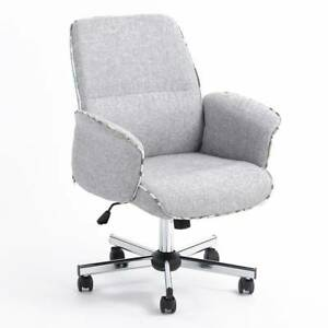 Middle Back Imitation Linen Wear resistant Antifouling Office Chair Gray
