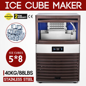 40kg 88lbs Intelligent Ice Cube Making Machine 180w Auto Clean Bakeries