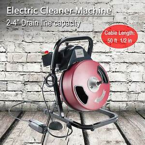 Electric Drain Cleaner Drum Auger Snake 1 2 Inch By 50 Feet Heavy Duty