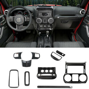 Carbon Fiber Inner Decor Trim Cover For Jeep Wrangler Jk Unlimited Accessories