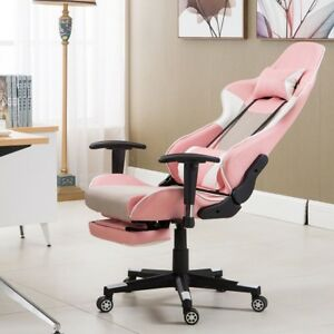 Pink High Back Pu Leather Ergonomic Computer Gaming Chair Seat W Lumbar Support