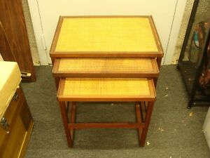 Mid Century Danish Modern Teak Nesting Tables Svante Skogh Style Rush Tops Read