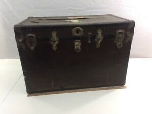 Antique Large Travel Trunk Pre 1940 24 X 36 X 21 Brown Italy No Key