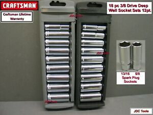 Craftsman 18 Pc 3 8 Drive Sae Metric Deep Socket Set W 2 Spark Plug Sockets 20