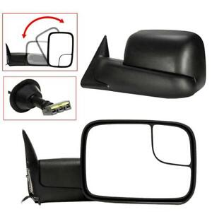 Left right For 1994 97 Dodge Ram 1500 2500 Tow Extend Flip Up Power Side Mirrors