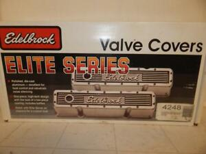Edelbrock Elite 4248 Aluminum Valve Covers Sbc Vintage Nos In Box