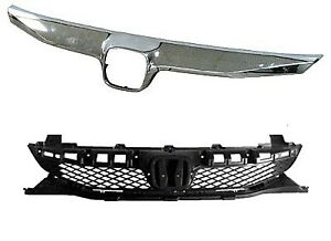 Grille Black W molding Fits 2009 2010 2011 Honda Civic Sedan Ho1200198 ho1210127