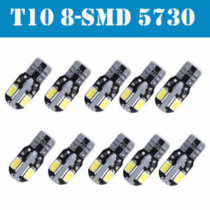 10 X Canbus T10 194 W5w 5730 8 Led Smd Super White Car Side Wedge Light Bulb New