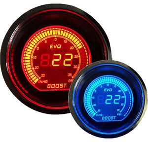 2 52mm Digital Boost Meter Vacuum Gauge Electric Evo Series Red Blue Us 2018