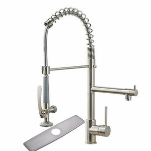 22 Commercial Pre rinse Kitchen Sink Faucet Pull Down Sprayer Brushed Nickel