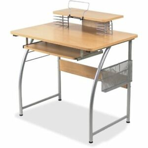 Lorell Upper Shelf Laminate Computer Desk Maple metal llr14337