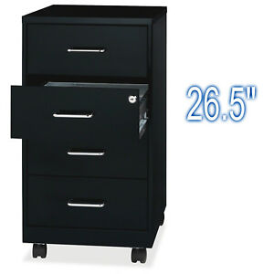 4 Drawer Metal Cabinet Black Mobile File With Lock Letter Office Organizer 26 5