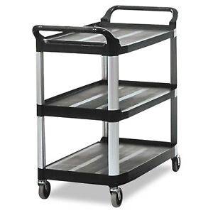 Rubbermaid Commercial Open Sided Utility Cart Three shelf 40 5 8w X 20d X 37 13