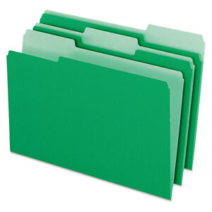 Pendaflex Colored File Folders 1 3 Cut Top Tab Legal Green light Green 100 box