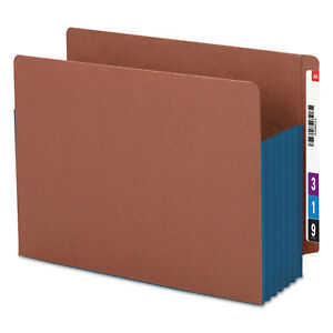 Smead 5 1 4 Exp File Pockets Straight Tab Letter Blue 10 box 73689