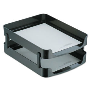 Officemate 2200 Series Front loading Desk Tray Two Tiers Plastic Letter Black