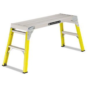 Louisville Fiberglass Mini Working Platform Step Stool 300 Lb Cap Yellow L304203