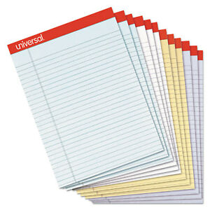Universal Fashion Colored Perforated Ruled Writing Pads Narrow 8 1 2x11 50