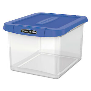 Bankers Box Heavy Duty Plastic File Storage Locking Lid Letter legal Clear blue