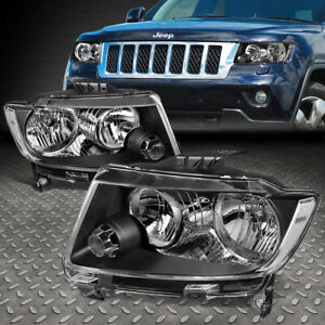 For 11 13 Jeep Grand Cherokee Wk2 Pair Black Housing Clear Side Headlight Lamps