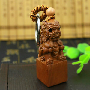 Wood Carving Chinese Foo Dog Lion 3d Carved Statue Sculpture Key Chain Keyring