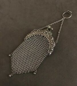 Art Nouveau Sterling Silver Mesh Chatelaine Coin Purse