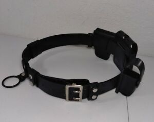 Police Security Leather Utility Belt 38 Waist With Belt Accessories