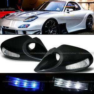 For 92 95 Civic 4dr Zero Style Manual Blue White Led Signal Side Mirror