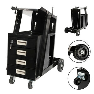 4 Drawer Welder Welding Cart Plasma Cutter Mig Tig Arc Tank Storage Swivel Wheel