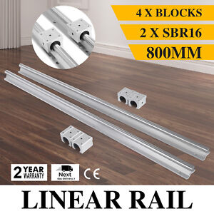 Sbr16 800mm 2x Linear Rail Set 4x Bearing Block Guideway Square Type Cnc Set