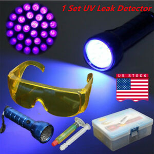 A C Fluid Gas Leak Detector Uv 14led Black Light Safety Glasses Detection Set