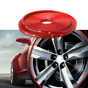 26ft Car Wheel Hub Rim Trim Tire Ring Guard Rubber Strip Protector Decor Red Us