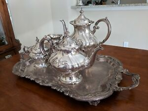 4 Piece Chantilly Tea Set By Gorham Silver With Tray Silverplated Hollowware