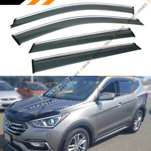 For 2013 2018 Hyundai Santa Fe Sport Clip On Chrome Trim Window Visor Rain Guard