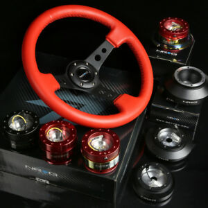 Nrg 110h Rd Hub Red Gen1 5 Quick Release 3 Deep Dish Red Leather Steering Wheel
