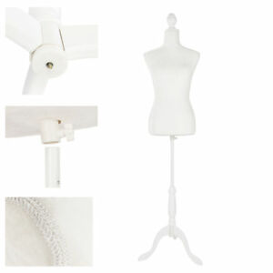 Female Mannequin Torso Dress Form White Tripod Stand Display Clothing Jewelry Us