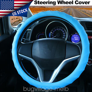 Silicone Auto Car Steering Wheel Cover Grip Wrap Protector Manual Universal Blue