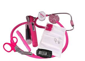 Breast Cancer Awareness Nurse Kit W Hot Pink Stethoscope Otoscope
